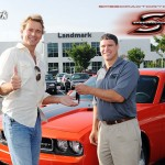 "John Schnieder (TV's ""Bo Duke"") accepts the keys for his new Dodge Challenger."